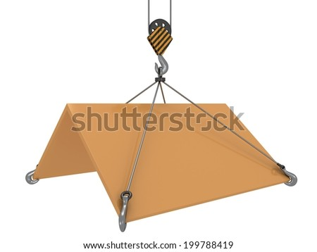 3D roof with construction crane hook. Business assembling real estate build concept. - stock photo