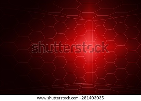 3D Room Hexagons Red - stock photo
