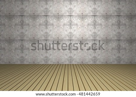 3d room with wooden floors and wallpaper on the wall.