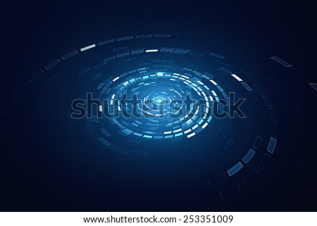 3D rotating circular elements background - stock photo