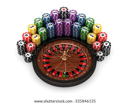 3D roulette with colored play chips on white background - stock photo