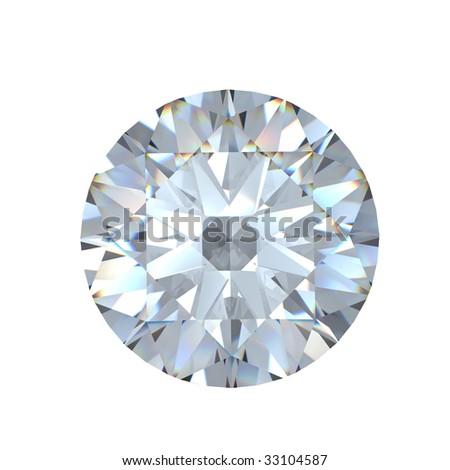 3d Round brilliant cut diamond - stock photo