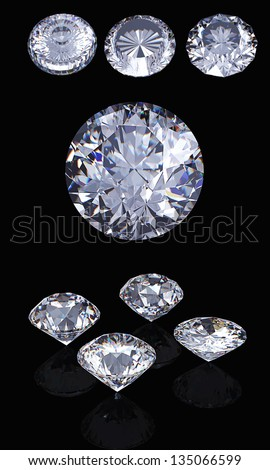 3d Round brilliant cut diamond perspective isolated on black background