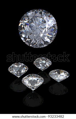 3d Round brilliant cut diamond perspective isolated on black background - stock photo
