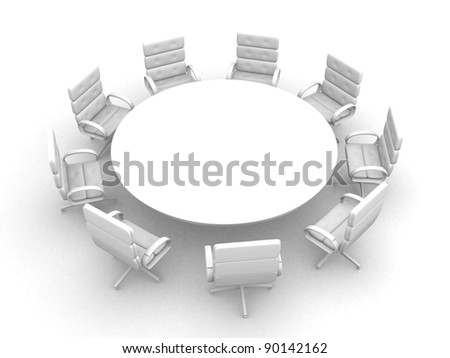 3d round conference room, isolated on white - this is 3d render illustration - stock photo