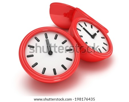 3D Round office clock shows different time isolated on white