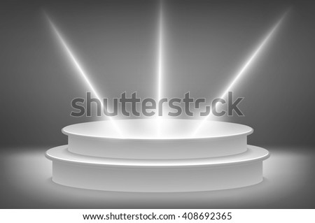 3d Round podium illuminated by spotlights.  Image. art