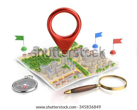 3D Route Map Of An City. Composition on the subject of 'Traveling Navigation'. - stock photo