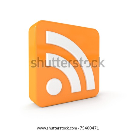 3d RSS icon isolated on white background - stock photo