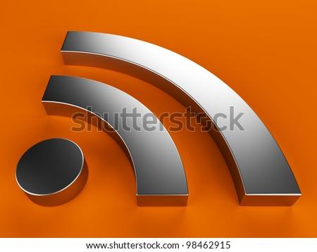 3d RSS symbol - stock photo