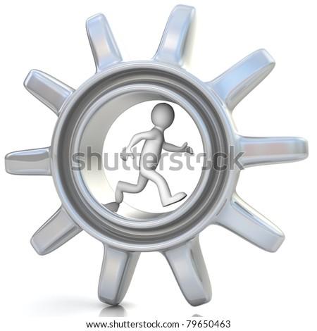 3d running man inside gear. Business concept - stock photo