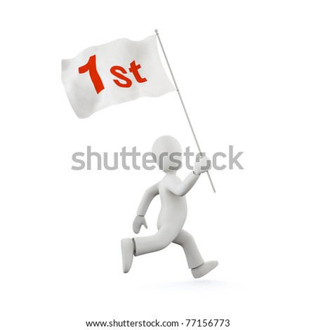 3d running man with flag - stock photo