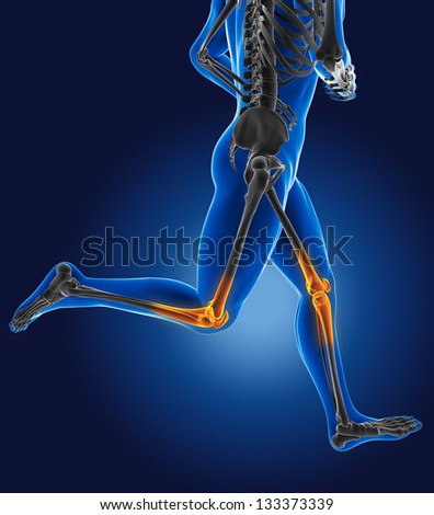 3D running medical man with skeleton knees highlighted - stock photo