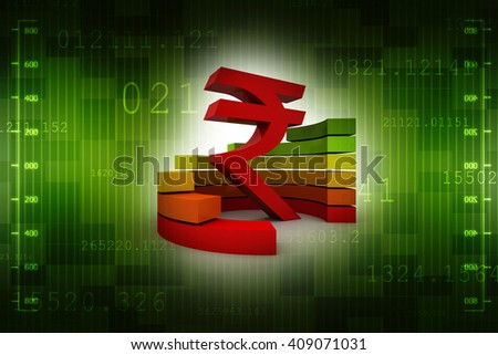 3D rupee currency symbol with graph