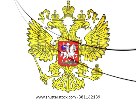 3D Russia Coat of Arms. Close Up.    - stock photo