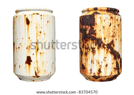 3d rusty can isolated on white background - stock photo