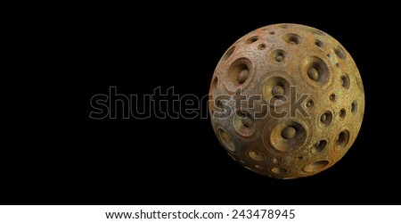 3d rusty speaker sound system planet over black - stock photo
