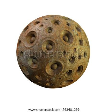 3d rusty speaker sound system planet over white - stock photo