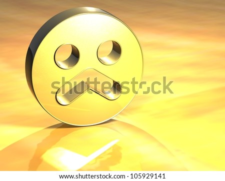 3D Sad Face Gold Sign over yellow background - stock photo