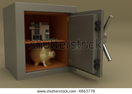 3d safe box with a treasure - stock photo