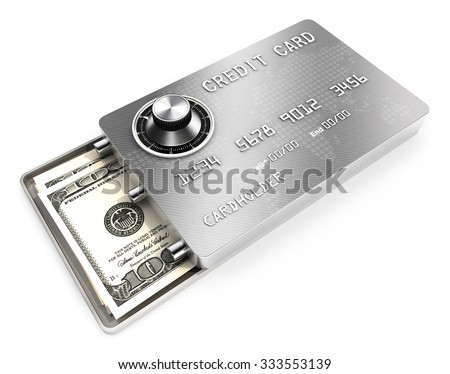 3d safe credit card concept, isolated white background