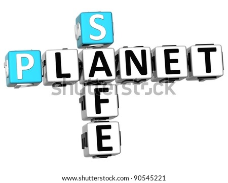 3D Safe Planet Crossword on white backgound