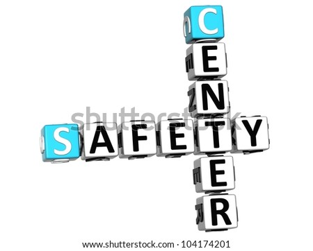3D Safety Center Crossword on white background - stock photo