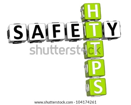 3D Safety Https Crossword on white background - stock photo