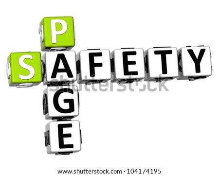 3D Safety Page Crossword on white background - stock photo