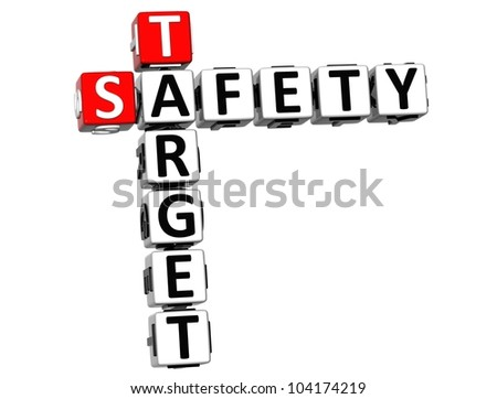 3D Safety Target Crossword on white background - stock photo