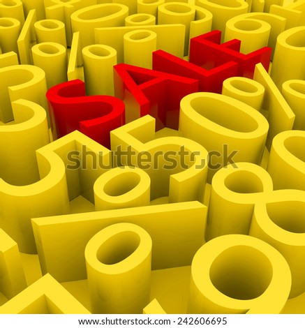 3d sale concept with the word Sale and different number discounts on a golden background.  - stock photo