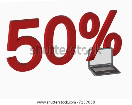 3d 50% sale laptop over white