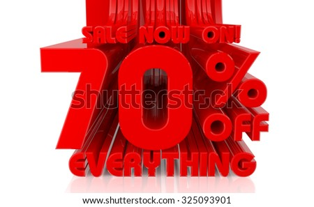 3D SALE NOW ON 70% OFF EVERYTHING word on white background 3d rendering - stock photo