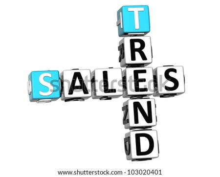 3D Sales Trend Crossword on white background