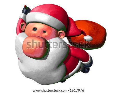 3D Santa Claus flying