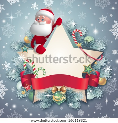 3d Santa Claus holding Christmas star banner, winter greeting card template - stock photo