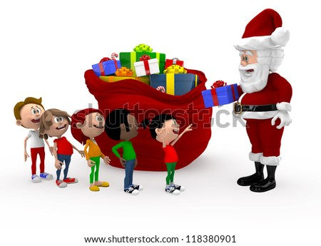 3D Santa giving Christmas presents to a group of kids queuing - isolated - stock photo