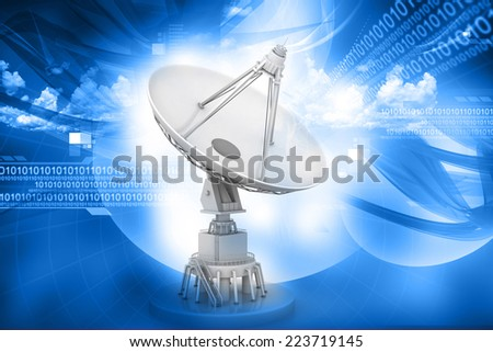 3d Satellite dish transmission data on abstract background	 - stock photo