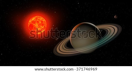 3d saturn with sun on the black background
