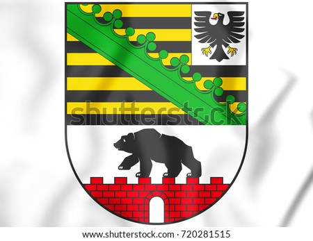 3D Saxony-Anhalt coat of arms, Germany. 3D Illustration.