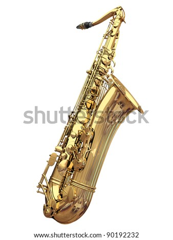 3d saxophone on a white background - stock photo
