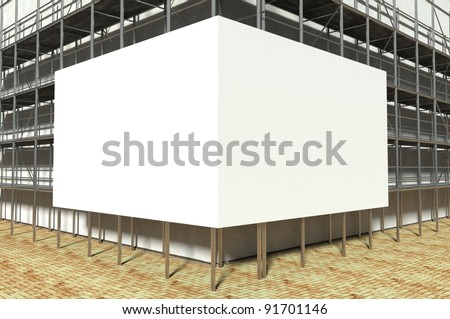 3d scaffolding and blank advertising billboard with copy space - stock photo