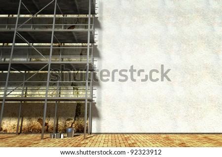 3d scaffolding and renovated wall, refurbishment - stock photo