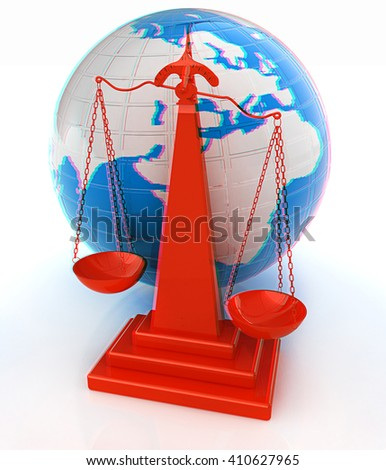 3d scale and Earth. 3D illustration. Anaglyph. View with red/cyan glasses to see in 3D. - stock photo