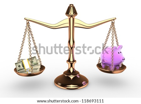 3d scale with dollar and piggy bank.  3d render - stock photo