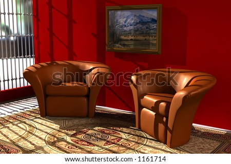 3D scene of a living room with two chairs on a rug with red wall and a picture frame