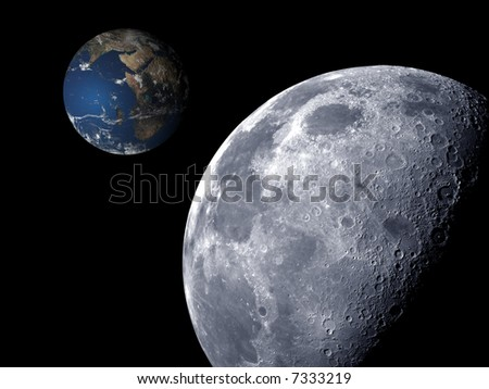 3D scene of earth view from moon - stock photo