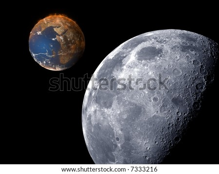 3D scene of global warming view from earth's moon. - stock photo