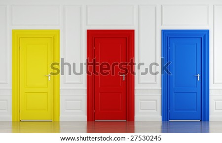 3d scene with three color doors in a wall as concept for choice or luck - stock photo