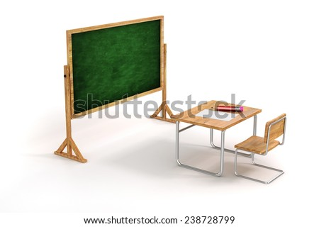 3d school desk and chair on white background - stock photo